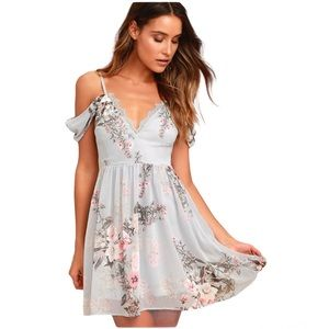 NWT Lulu's Verona Light Blue Floral Print Off-the-Shoulder Lace Dress sz XL